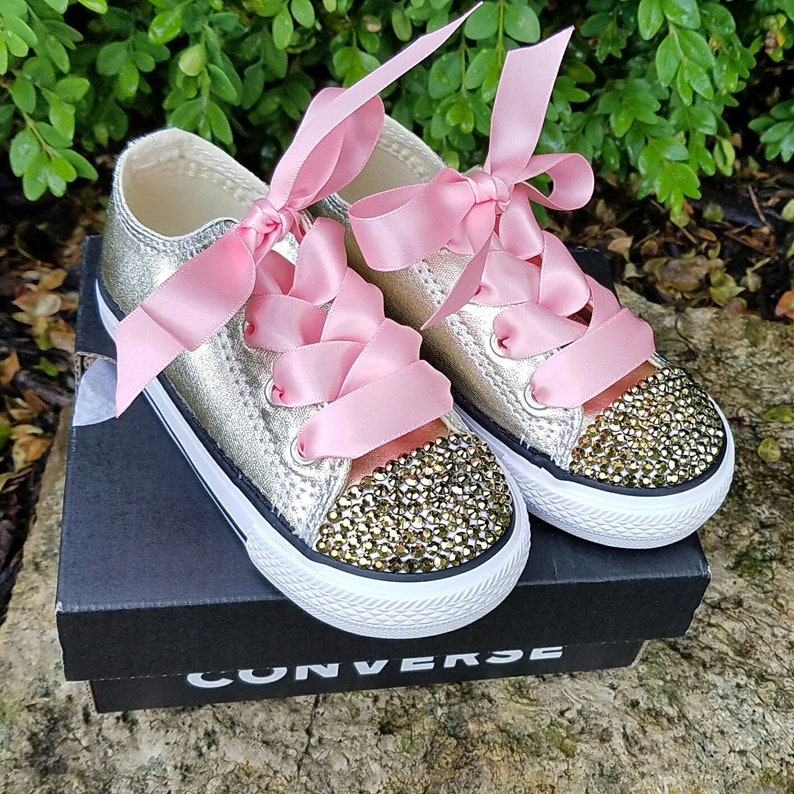 88f224ba32ef Gold Converse Toddler Shoes Gold Crystals Pink Satin Laces