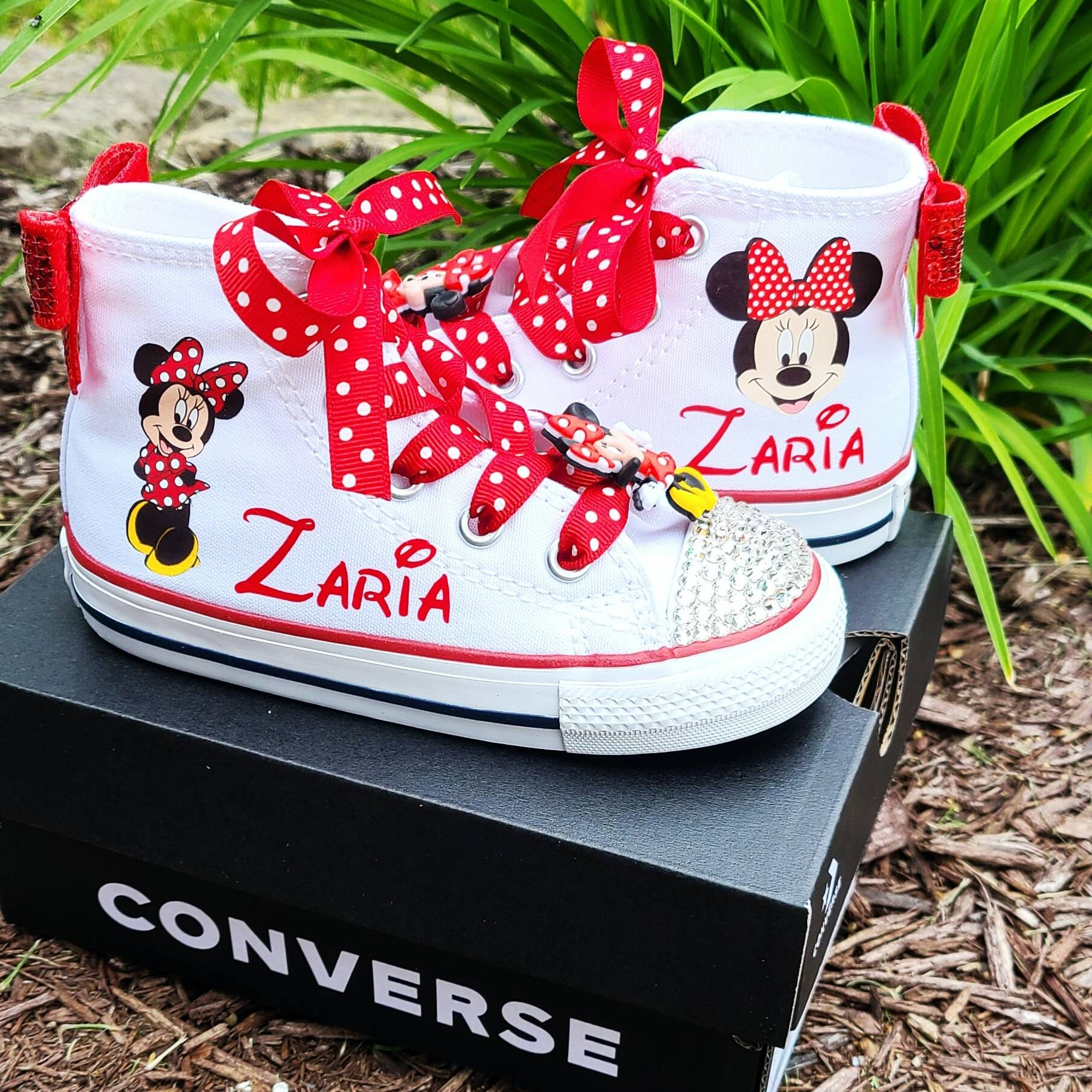 Minnie Mouse Converse, Personalized Name, White High Tops, Girls Shoes, Crystals Option