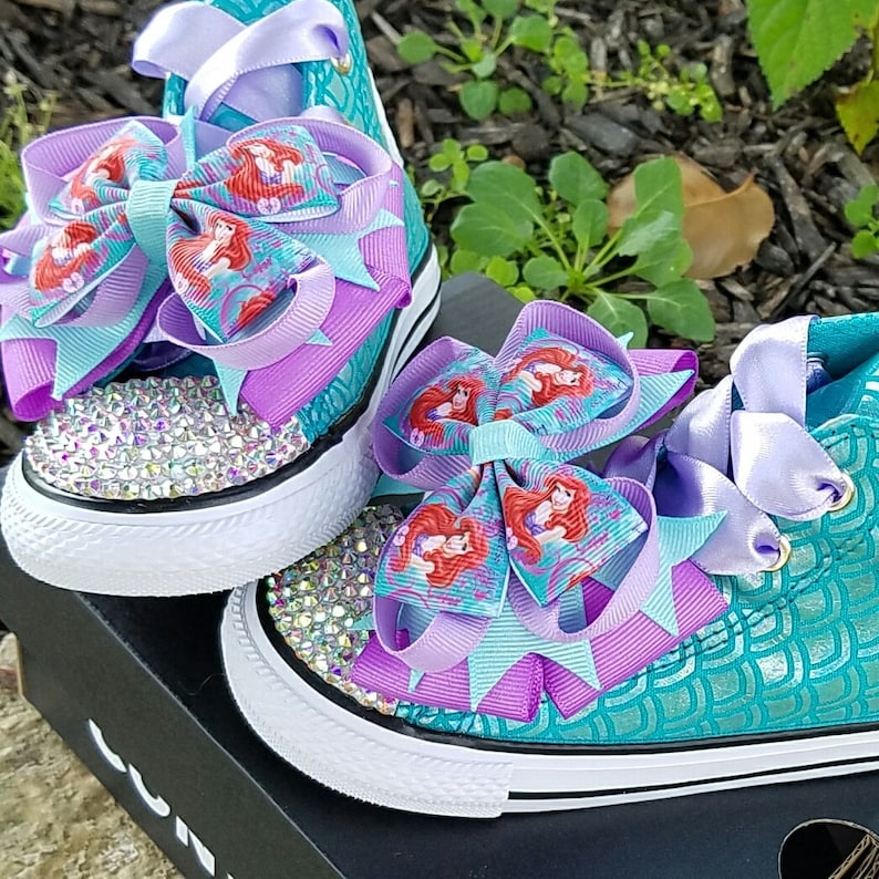 5f30f9060e41 Little Mermaid Shoes Bling Converse Toddler Sizes 4-10 AB