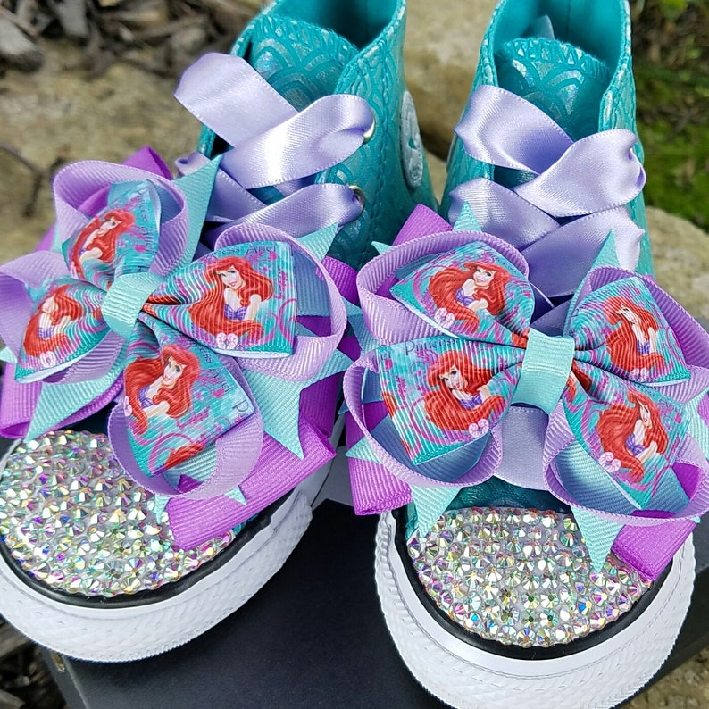 fce876ce5491 Little Mermaid Shoes Bling Converse Toddler Sizes 4-10 AB