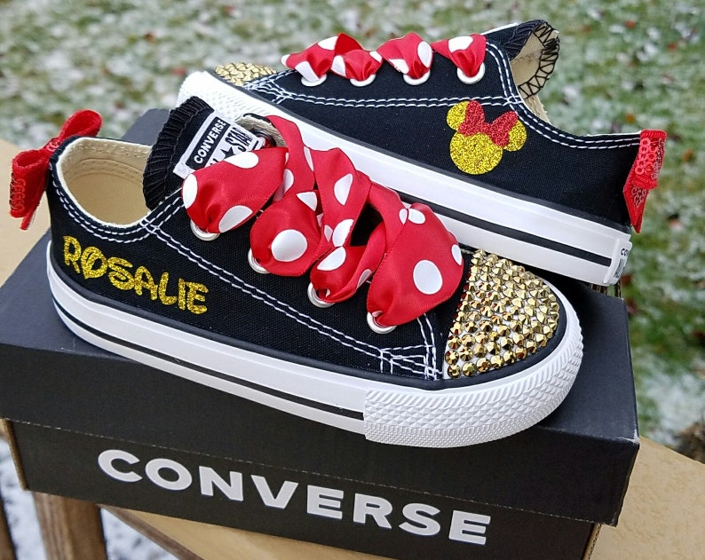 c2a28e1d74df21 Black Converse Minnie Shoes Gold Crystals Gold Red Sparkle
