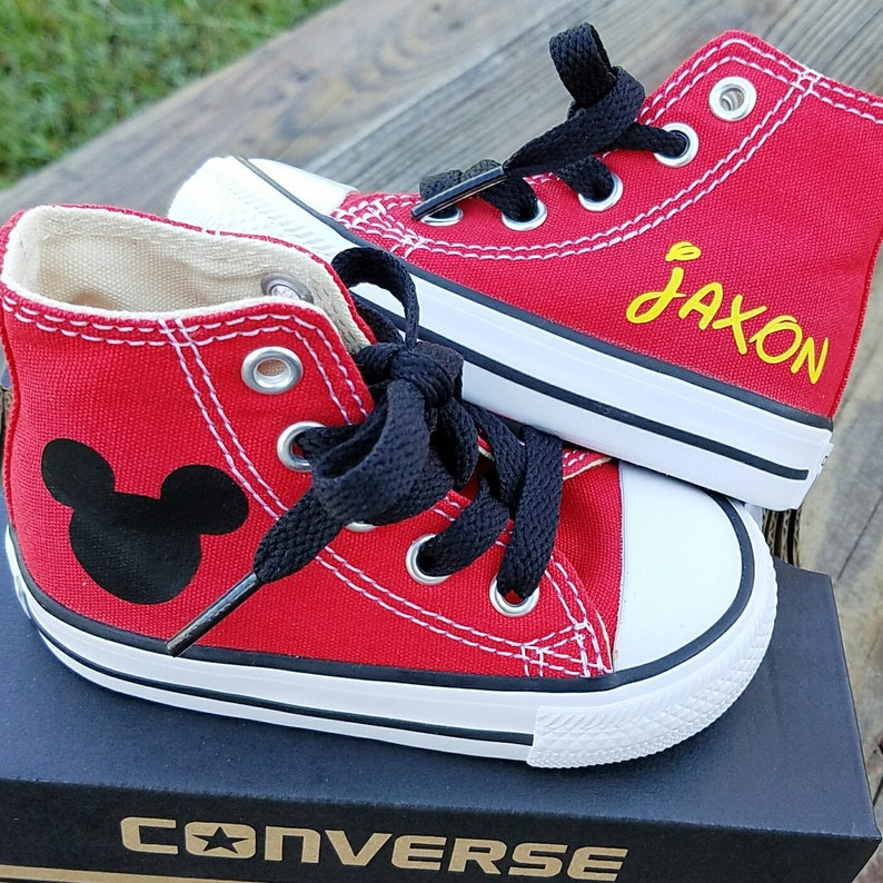 393d15354f64df Boys Converse Red Hi Tops Chuck Taylors Mickey Mouse Name