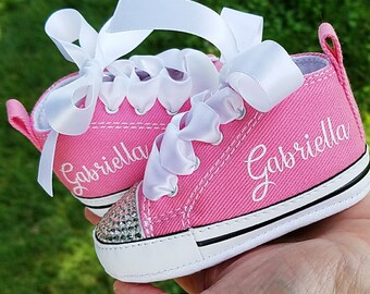 Pink Converse, Baby Girls, Personalized Name, Bling Shoes, Infant Sizes 0-12 Months
