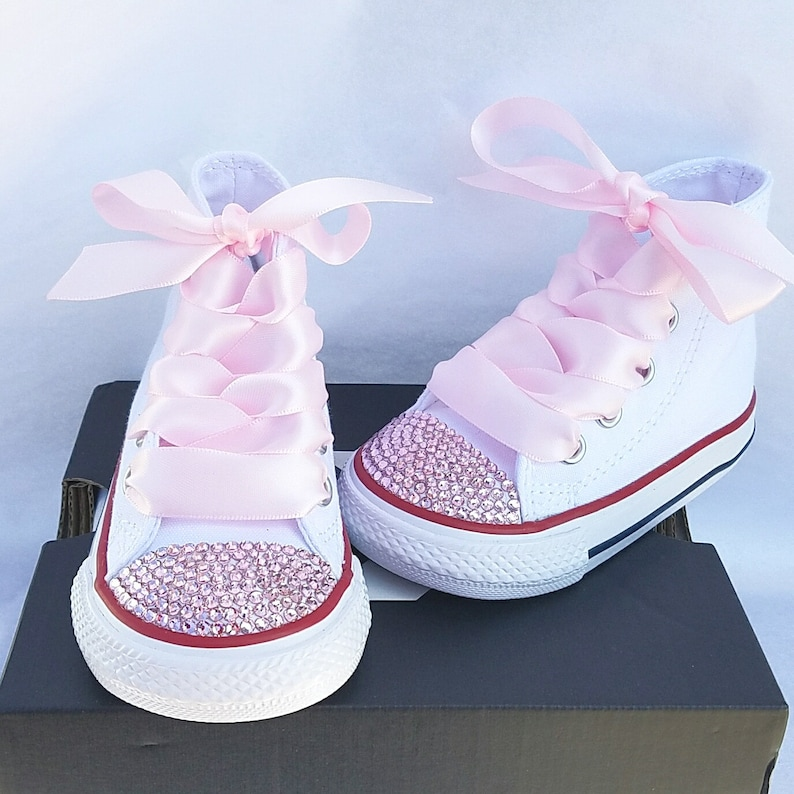 2fe325e85dcedc White Converse High Tops Pink Crystals Baby Toddler Satin