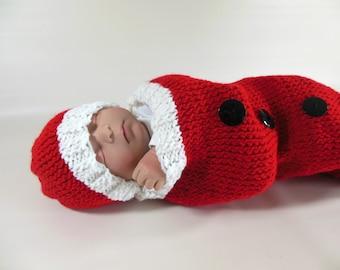 Santa Claus Christmas Baby Swaddle Sack Set Newborn Photo Prop Cocoon Newborn Swaddle Set with Headband Ready to Ship Cocoon Sack