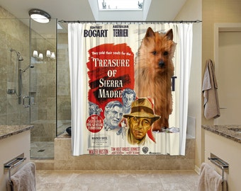 Australian Terrier Art Shower Curtain, Dog Shower Curtains, Bathroom Decor - The Treasure of the Sierra Madre Movie Poster