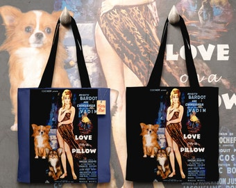 Chihuahua Art Tote Bag Love on a Pillow Movie Poster by Nobility Dogs