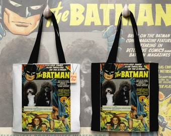 Portuguese Water Dog Art Tote Bag    Batman Movie Poster    by Nobility Dogs