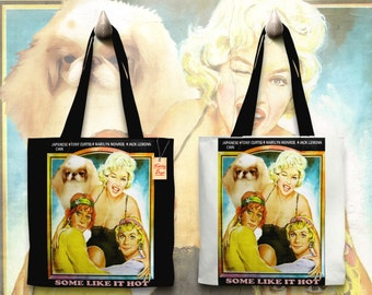 Japanese Chin Art Tote Bag Some Like It Hot Movie Poster    by Nobility Dogs