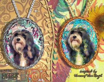 Lowchen Jewelry Pendant - Brooch Handcrafted Porcelain by Nobility Dogs - Gustav Klimt and Van Gogh