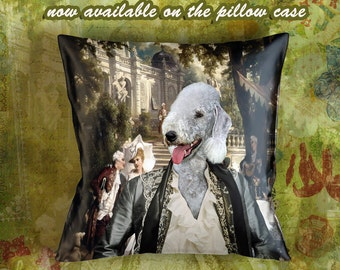 Christmas Gifts Bedlington Terrier Pillow Portrait Dog Lover  by Nobility Dogs Arts