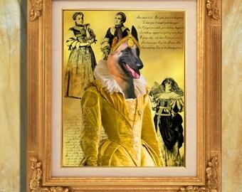 Belgian Malinois Art Print 11 x 14 inch original illustration artwork giclee archival premium poster print By Nobility Dogs