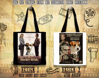 Parson Russell Terrier Tote Bag Movie Poster Rear Window When Harry Met Sally by Nobility Dogs
