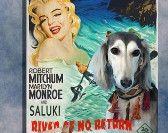Saluki Art River of No Return Vintage Movie Poster by Nobility Dogs