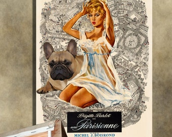 French Bulldog Vintage Movie Style Poster Canvas Print