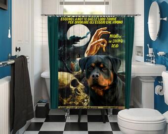 Rottweiler Art Shower Curtain, Dog Shower Curtains, Bathroom Decor   Night of the Living Dead Movie Poster