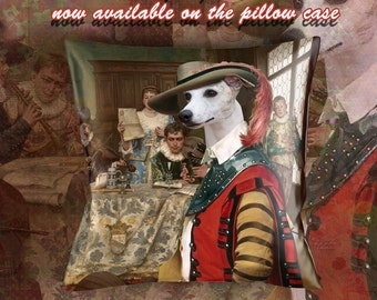 Christmas Gifts Whippet Pillow Portrait Dog Lover  by Nobility Dogs Arts