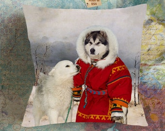 Christmas Gifts Alaskan Malamute Art Pillow    Dog Lover  by Nobility Dogs Arts
