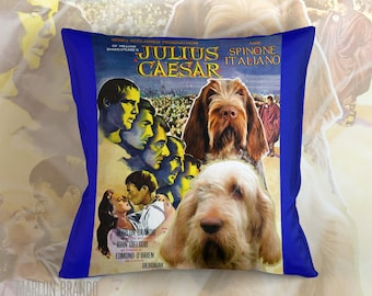 Italian Spinone Art Pillow Case   Julius Caesar Movie Poster   by Nobility Dogs