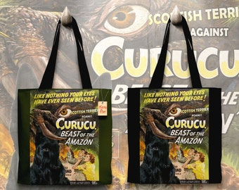 Scottish Terrier Art Tote Bag   Curucu, Beast of the Amazon Movie Poster by Nobility Dogs