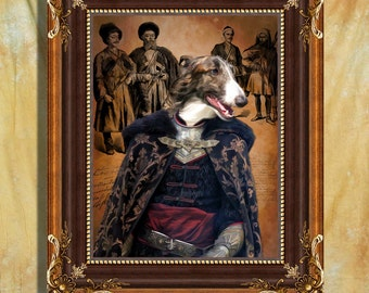 Borzoi - Russian Wolfhound Art Print 11 x 14 inch original illustration artwork giclee archival premium poster print By Nobility Dogs