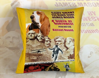 Basset Hound Art Pillow    North by Northwest Movie Poster   by Nobility Dogs
