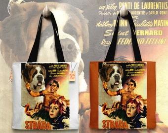 Saint Bernard Art Tote Bag   La Strada Movie Poster by Nobility Dogs