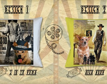 Australian Cattle Dog Art Pillow Heeler Gifts Portrait inspired by Movie Poster 3,10 to Yuma and High Noon by Nobility Dogs