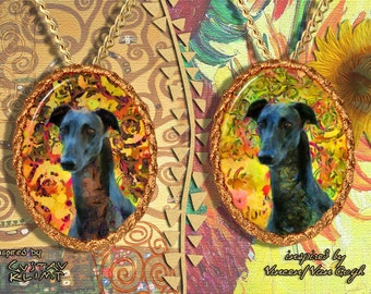 Greyhound Jewelry Pendant - Brooch Handcrafted Porcelain by Nobility Dogs - Gustav Klimt and Van Gogh