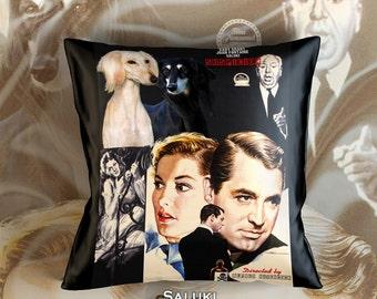 Saluki Art Pillow Case   Suspicion Movie Poster   by Nobility Dogs