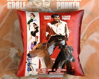 Greyhound Art Pillow Case Throw Pillow - The King and Four Queens Movie Poster  Perfect DOG LOVER Gift for Her Gift for Him