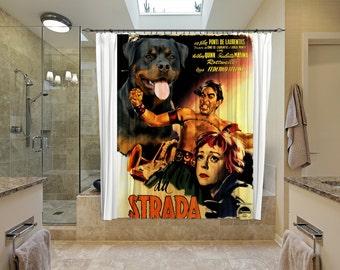 Rottweiler Art Shower Curtain, Dog Shower Curtains, Bathroom Decor   LA STRADA Movie Poster