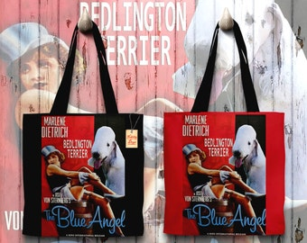Bedlington Terrier Art Tote Bag   The Blue Angel Movie Poster by Nobility Dogs