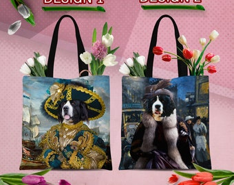 Christmas Gifts Landseer Dog Art Newfoundland Tote Bag  by Nobility Dogs Arts