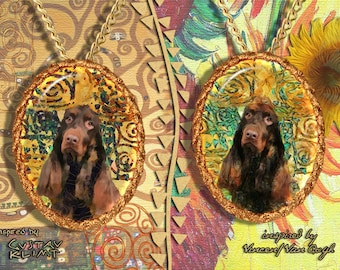Field Spaniel Jewelry Pendant   Brooch Handcrafted Porcelain by Nobility Dogs   Gustav Klimt and Van Gogh