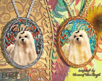 Maltese dog Jewelry Pendant Brooch Handcrafted
