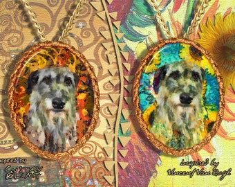 Scottish Deerhound Jewelry Pendant - Brooch Handcrafted Porcelain by Nobility Dogs - Gustav Klimt and Van Gogh