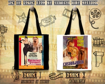 Yorkshire Terrier Dog Print Tote Bag inspired by Movie Poster Breakfast at Tiffany and Casablanca Gift for Her by Nobility Dogs