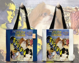 Japanese Chin Art Tote Bag   Julius Caesar Movie Poster    by Nobility Dogs