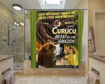 Beagle Art Shower Curtain, Dog Shower Curtains, Bathroom Decor - Curucu Movie Poster  Perfect CHRISTMAS Gift SALE 25 off Free Shipping