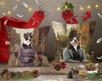 Christmas Gifts Boston Terrier Dog Art Pillow by Nobility Dogs