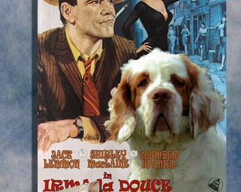 Clumber Spaniel Vintage Movie Style Poster Canvas Print  - Irma la Douce   Perfect DOG LOVER GIFT Gift for Her Gift for Him Home Decor