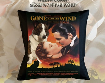 Welsh Corgi Cardigan Art Pillow    Gone with the Wind Movie Poster   by Nobility Dogs