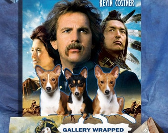 Basenji Dog Art Dances with Wolves Movie Poster Print, Vintage Collage Art on Canvas, Dog Gifts by Nobility Dogs