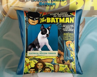 Boston Terrier Art Pillow    Batman The electrical Brain Movie Poster   by Nobility Dogs