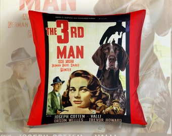 German Shorthaired Pointer Art Pillow Case   The Third Man Movie Poster   by Nobility Dogs