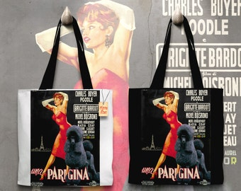 Standard Poodle Art Tote Bag    Une Parisienne Movie Poster    by Nobility Dogs