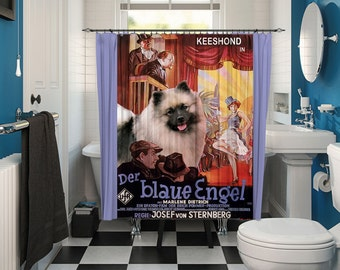 Keeshond Art Shower Curtain, Dog Shower Curtains, Bathroom Decor - The Blue Angel Movie Poster