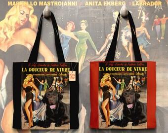 Labrador Retriever Art Tote Bag   La dolce vita Movie Poster    by Nobility Dogs