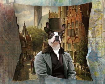 Christmas Gifts Boston Terrier Art Pillow by Nobility Dogs